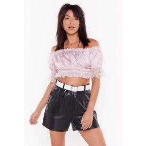 Dusty Pink Satin Lace Off Shoulder Bardot Top
